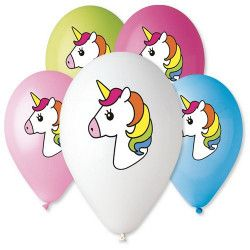 Déco festive, Sachet 5 ballons assortis 30 cm Licorne, BA21555, 2,50€