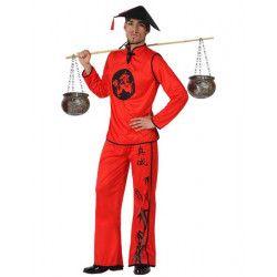 Déguisements, Déguisement chinois rouge homme taille M/L, 15281, 29,95€