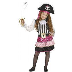 Déguisement pirate rose et noir fille 5-6 ans Déguisements 87518