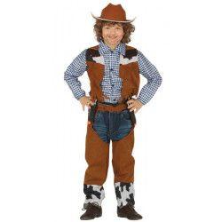 Déguisements, Déguisement cowboy marron enfant 7-9 ans, 88430, 18,50€