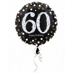 Ballon aluminium rond holographique 60 ans 43 cm Déco festive 3213201