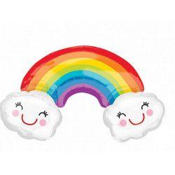 Ballon mylar forme arc en ciel avec nuages 93 cm Déco festive 3381501