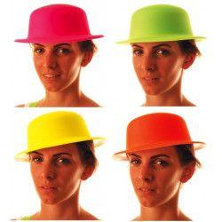 Chapeau melon fluo coloris assortis Accessoires de fête 865521