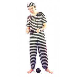 Déguisements, Costume prisonnier à rayures taille unique M/L, 8728929, 18,90€