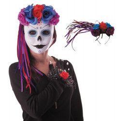 Serre-tête Dia de la Muerte avec fleurs et rubans Accessoires de fête 90242