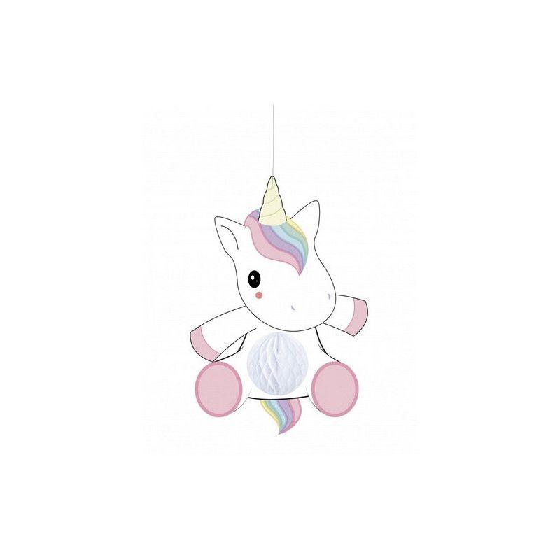 Suspension bébé licorne alvéolée 25 cm Déco festive 502366