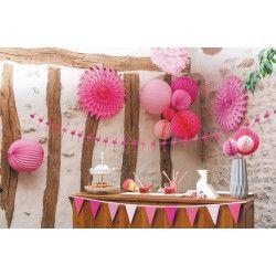 Boule alvéolée néon rose 30 cm Déco festive 50230L