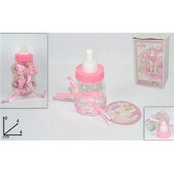Biberon présentoir baby shower avec 30 biberons roses de 9 cm Confiserie 67932