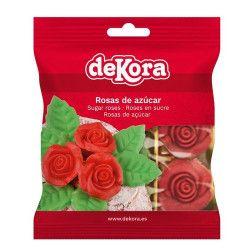 Fleurs en sucre rouge pour décoration de gâteau x 12 Déco festive 230033