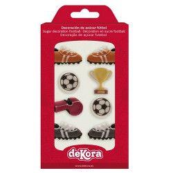 Décorations football en sucre pour gâteau x 8 Déco festive 230035