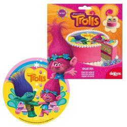 Disque en sucre Trolls™ 16 cm Déco festive 231169