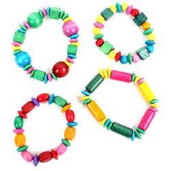 Jouets filles, Bracelet en bois vendu par 48, 32121-LOT, 0,28€