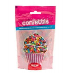 Confettis sucre alimentaire étoiles multicolores 100 g Déco festive 434007