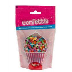 Déco festive, Confettis sucre alimentaire marguerites multicolores 100 g, 434008, 2,55€