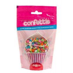 Déco festive, Confettis sucre alimentaire coeurs multicolores 100 g, 434009, 2,55€