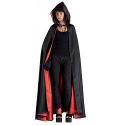 Accessoires de fête, Cape noire et rouge avec capuche adulte taille M, 70191, 28,50€