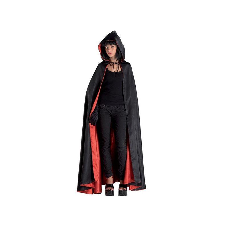 Cape noire et rouge avec capuche adulte taille M Accessoires de fête 70191