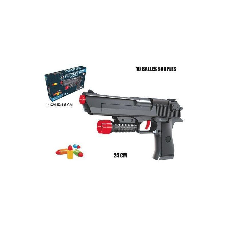 Pistolet lance balles 24 cm avec 10 balles Jouets et articles kermesse 29022