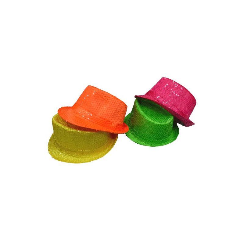 Chapeau paillettes fluo Accessoires de fête 76373