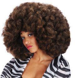 Perruque afro couleur café 50 cm Accessoires de fête 02957