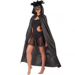 Accessoires de fête, Cape noire avec capuche 140 cm, 29029, 14,90€