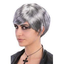 Perruque grise et courte avec frange adulte Accessoires de fête 02636