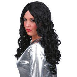 Perruque noire longue femme Accessoires de fête 2449