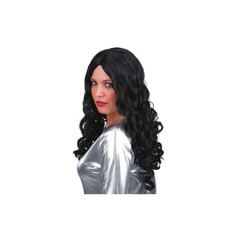Perruque noire longue femme Accessoires de fête 02449
