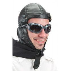 Chapeau aviateur simili cuir noir Accessoires de fête 5925