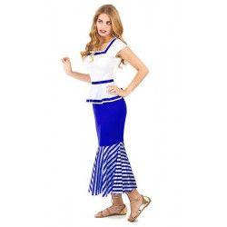 Déguisements, Déguisement gauloise bleu et blanc femme taille L, 157487, 24,90€