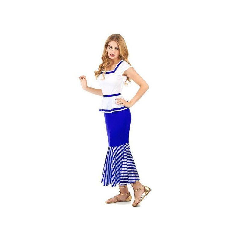 Déguisement gauloise bleu et blanc femme taille L Déguisements 157487